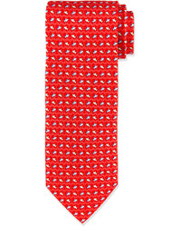 Salvatore Ferragamo Fish Wave Print Tie Red