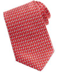 Salvatore Ferragamo Giraffe Print Silk Tie Red