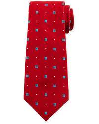 Kiton Wear Kiton Neat Flower Print Silk Tie Red
