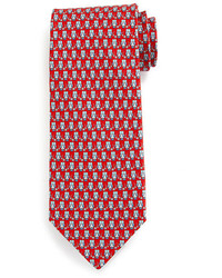 Salvatore Ferragamo Owl Print Silk Tie Redblue