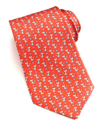 Salvatore Ferragamo Cat Print Silk Tie Red