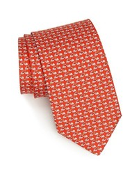 Salvatore Ferragamo Snail Print Silk Tie Red Regular