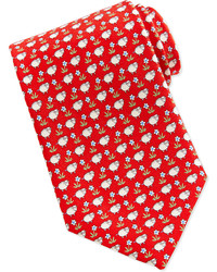 Salvatore Ferragamo Sheepflower Print Tie Red