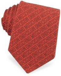 Moschino Signature Print Silk Jacquard Tie