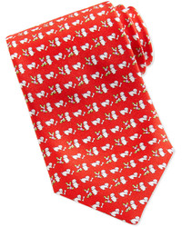 Salvatore Ferragamo Silk Dogflower Print Tie Red