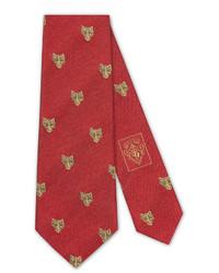 Gucci Silk Tie With Feline Heads