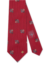 Gucci Silk Tie With Flowers