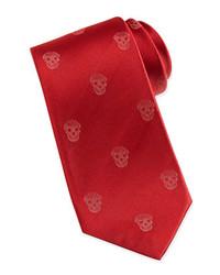 Alexander McQueen Skull Print Silk Tie Red