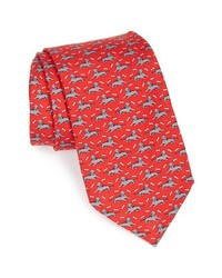 Vineyard Vines Dog Print Tie Red One Size