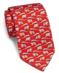Salvatore Ferragamo Vintage Elephant Print Silk Tie
