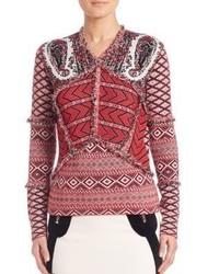 Red Print V-neck Sweater