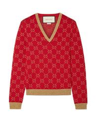 Gucci Metallic Cotton Blend Jacquard Sweater