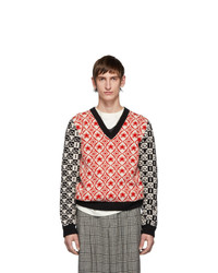 Gucci Red And Black Wool Jacquard V Neck Sweater