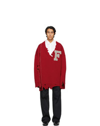 Raf Simons Red Oversized Destroyed F Sweater