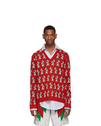 Gucci Red Wool Pig V Neck Sweater