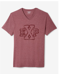 Express Exp Logo V Neck Graphic Tee