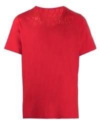 Maison Margiela Slogan Print V Neck T Shirt