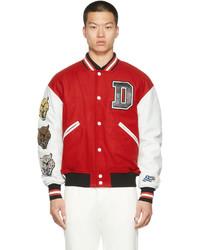 Diesel Red White W Cash Bomber Jacket
