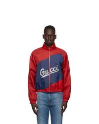 Gucci Red Nylon Logo Jacket