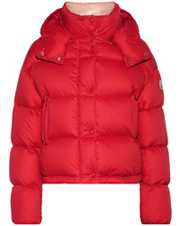 Moncler Ponia Quilted Cotton Canvas Down Coat Red