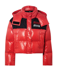 Miu Miu Cropped Two Tone Quilted Shell Down Jacket