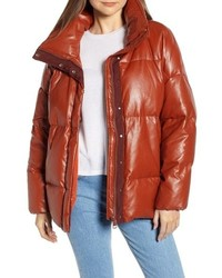 Sosken Glory Faux Leather Puffer Jacket