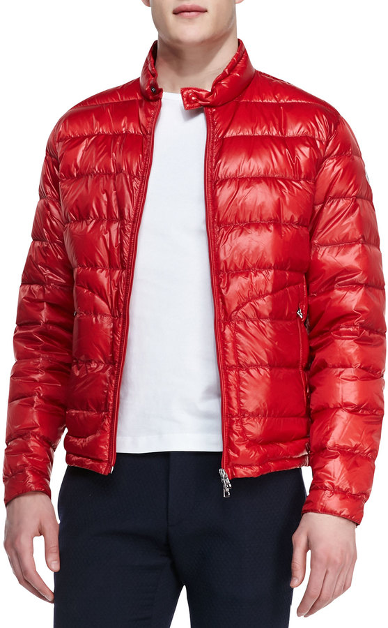 moncler red bomber jacket