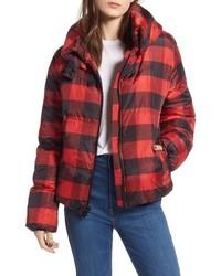 Kendall & Kylie Oversize Plaid Puffer Jacket