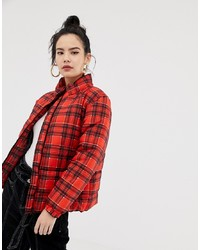 Daisy Street Padded Jacket In Check Check