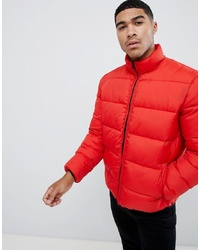 ASOS DESIGN Puffer Jacket With Funnel In Red