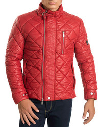 Quilted Puffer Jacket In Red
