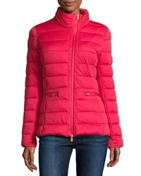 Save The Duck Asymmetric Zip Puffer Jacket Tango Red