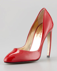 Walter Steiger Bowed Heel Patent Leather Pump Red