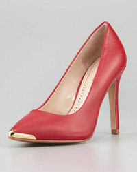 Pour La Victoire Christelle Metal Tip Pointy Toe High Heel Pump Red