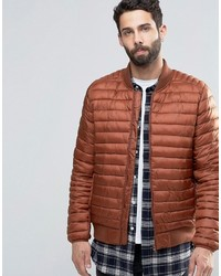 Red Quilted Bomber Jacket