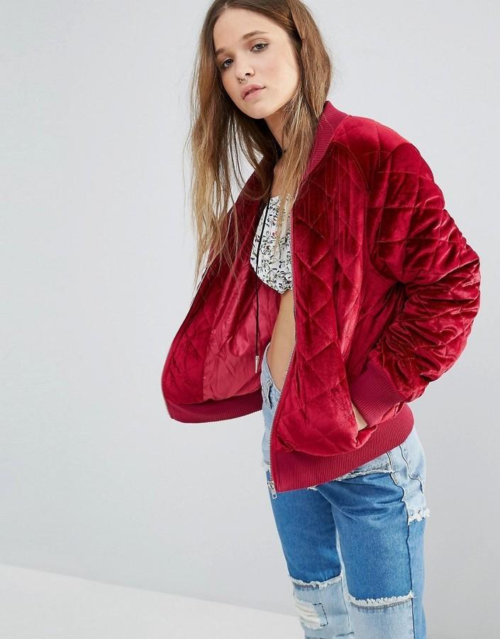 Boohoo Quilted Velvet Bomber Jacket