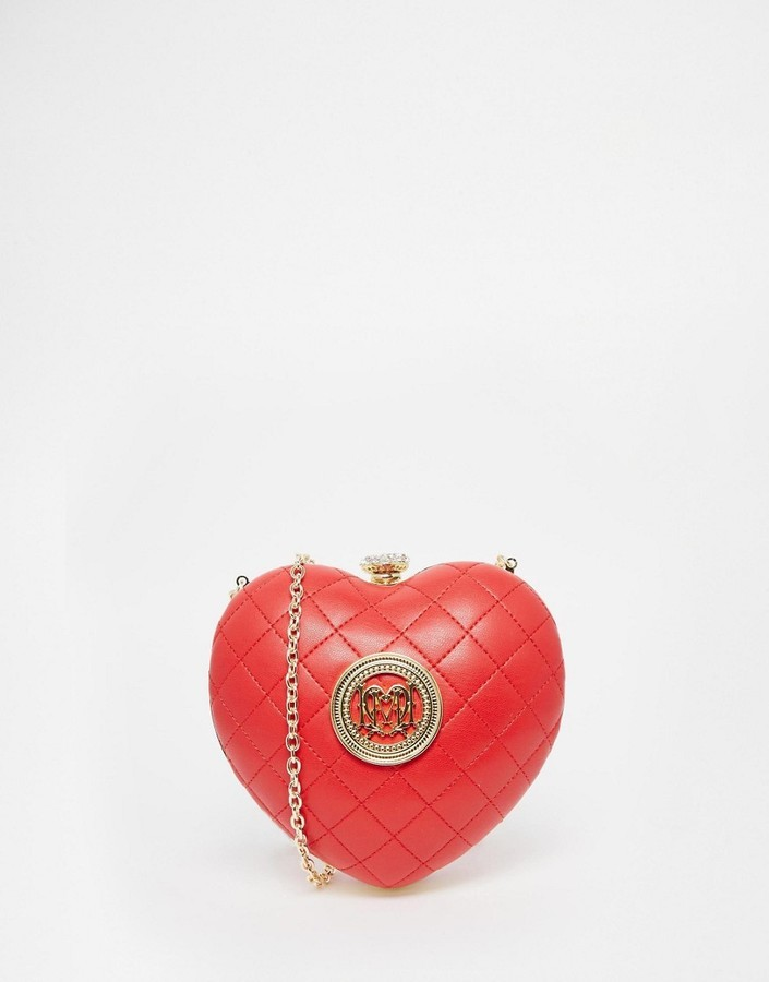 2dbe97b070 Love Moschino Quilted Red Heart Clutch, $209 | Asos | Lookastic.com