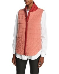 Lafayette 148 New York Klyn Reversible Quilted Vest Carnelian