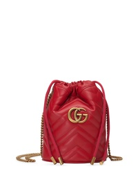 Gucci Mini Gg Marmont 20 Quilted Leather Bucket Bag