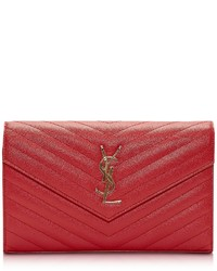 Saint Laurent Monogram Lipstick Red Textured And Quilted Leather Wallet Clutch Wchain