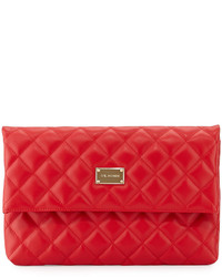 St. John Quilted Leather Fold Over Clutch Bag Red