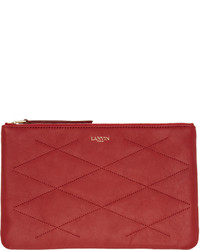 Lanvin Red Leather Quilted Sugar Pouch