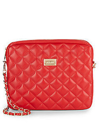 St. John Quilted Leather Convertible Clutch