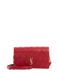 Saint Laurent Angie Quilted Lambskin Leather Crossbody Bag