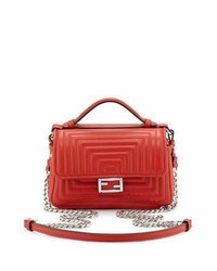 Fendi Double Baguette Micro Quilted Shoulder Bag Red