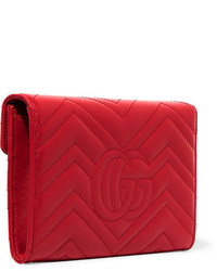Gucci Gg Marmont Quilted Leather Shoulder Bag Red