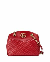 Gucci Gg Marmont 20 Medium Quilted Shoulder Bag Red