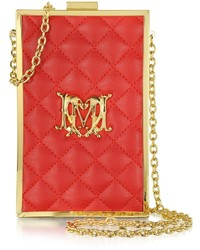 Love Moschino Moschino Red Quilted Eco Leather Vertical Clutch