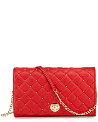 Neiman Marcus Quilted Faux  Leather Crossbody Bag Red