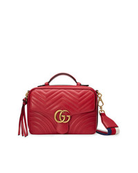 Gucci Red Gg Marmont Stripe Shoulder Bag